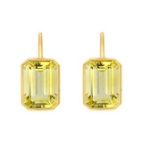 Emerald-Cut Lemon Quartz Drop Earrings