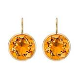 Round Citrine Drop Earrings