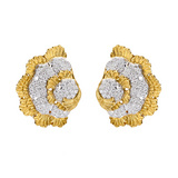 18k Gold & Diamond Fan-Shaped Earclips