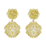 """Needle Lace"" 18k Gold & Diamond Drop Earrings"