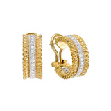 Small 18k Gold & Diamond Hoop Earrings