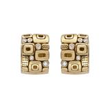"""Little Windows"" 18k Gold Huggie Earrings with Diamond"