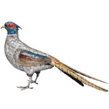 Large Silver &amp; Enamel Pheasant Sculpture