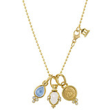 Rock Crystal, Moonstone &amp; Diamond Charm Necklace