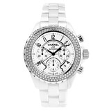 J12 Chronograph Automatic White Ceramic & Diamonds (H1008)