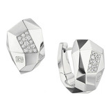 Faceted 18k White Gold & Diamond Huggie Earrings