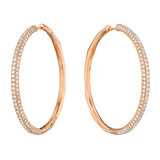 Large 18k Rose Gold & Diamond Hoop Earrings