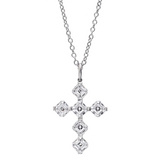 Asscher-Cut Diamond Cross Pendant