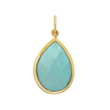 Pear-Shaped Faceted Turquoise 18k Gold Pendant