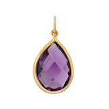 Pear-Shaped Faceted Amethyst 18k Gold Pendant