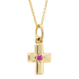 Small 14k Gold Cross Pendant with Pink Sapphire