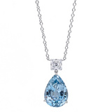 Aquamarine & Diamond Drop Pendant