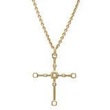 """Box"" 18k Gold & Diamond Cross Pendant"