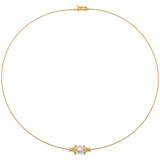 &quot;Wire&quot; 18k Gold &amp; Pearl Collar Necklace