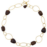 18k Gold &amp; Dark Wood Link Necklace