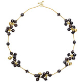 Ebony Wood &amp; 18k Gold Cluster Necklace
