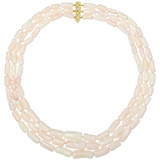 Coral Bead Three Strand Necklace
