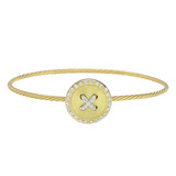 """Wire"" 18k Gold & Diamond Button Bracelet"