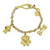 18k Gold Dog Lover Charm Bracelet