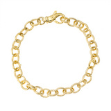 18k Gold Reeded Oval Link Bracelet