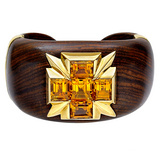&quot;Five Stone&quot; Citrine &amp; Cocobola Wood Cuff