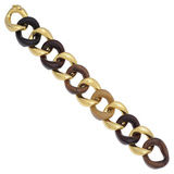 Medium Mixed Woods & 18k Gold Link Bracelet