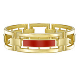 18k Gold Openwork Bangle with Red Enamel