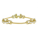 """Wire"" 18k Gold & Diamond Bracelet"