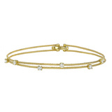 "Thin ""Wire"" 18k Gold & Diamond Double Bracelet"