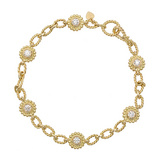 18k Yellow Gold & Diamond Link Bracelet