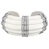 &quot;Rigate&quot; Mammoth Ivory &amp; Diamond Cuff Bracelet
