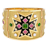 Maltese Cross Pink &amp; Chrome Tourmaline Bracelet