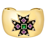 Maltese Cross Pink &amp; Chrome Tourmaline Cuff Bracelet