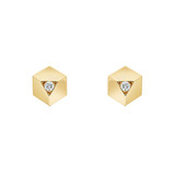 "18k Yellow Gold & Diamond ""Brillante"" Stud Earrings"