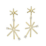 Small 18k Yellow Gold & Diamond Star Stick Drop Earrings