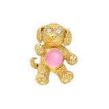 18k Gold & Pink Tourmaline Puppy Dog Brooch
