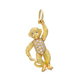 18k Gold & Diamond Monkey Pendant with Sapphire