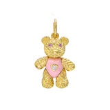 """Bearloom"" 18k Gold & Enamel Charm with Diamond"