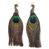 Rose-Cut Diamond &amp; Feather Peacock Earrings