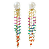 Pearl &amp; &quot;9-Gem&quot; Tassel Earrings
