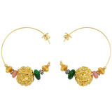 18k Prayer Bead Hoops with Diamond &amp; Gemstone Beads