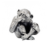 Small Silver &#039;See No Evil&#039; Monkey Sculpture