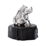 "Silver ""Warthog Thinker"" Sculpture on Blackwood Base"