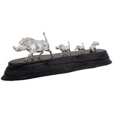 Silver Warthog Family Sculpture on Blackwood Base