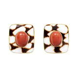 Antique Marble Shell & Coral Earrings