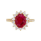 1.95 Carat Ruby &amp; Diamond Cluster Ring