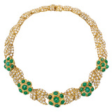 Emerald & Diamond Foliate Leaf Necklace