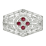 Art Deco Ruby & Diamond Panel Brooch