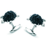 18k White Gold Turtle Cufflinks with Diamond