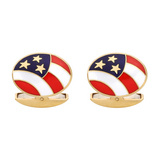 18k Gold American Flag Cufflinks